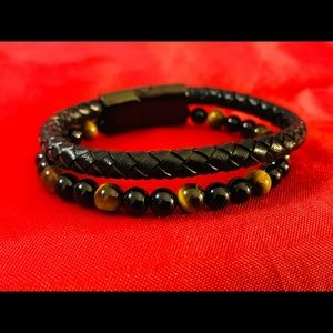 Other - Natural stone genuine leather bracelet